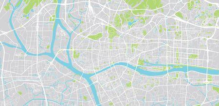 Urban vector city map of Guangzhou, China