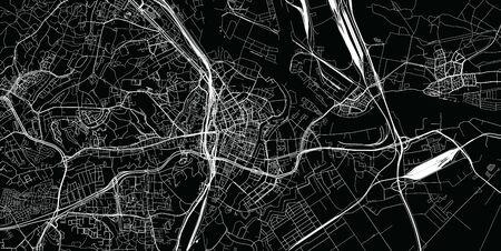 Urban vector city map of Gdansk, Poland