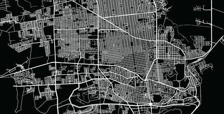 Urban vector city map of Hermosilla, Mexico Stock Illustratie