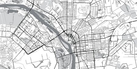 Urban vector city map of Omsk, Russia Stockfoto - 129705352