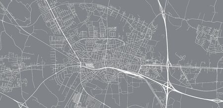 Urban vector city map of Herning, Germany