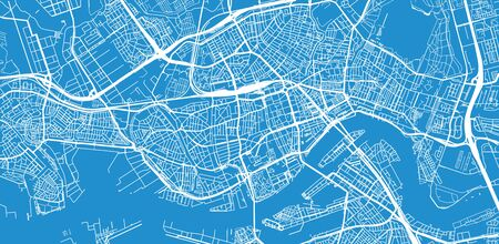 Urban vector city map of Rotterdam, The Netherlands