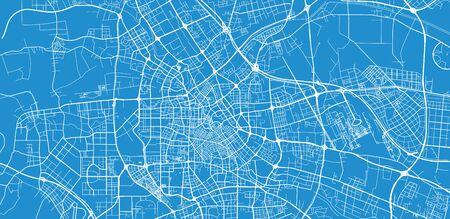 Urban vector city map of Tianjin, China