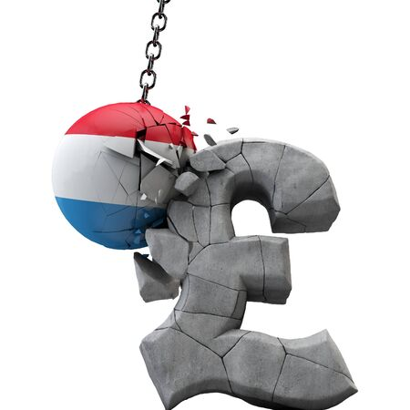 Luxembourg ball smashing a pound sterling symbol. UK economy. 3D Render