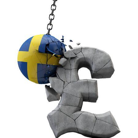 Sweden ball smashing a pound sterling symbol. UK economy. 3D Render Reklamní fotografie