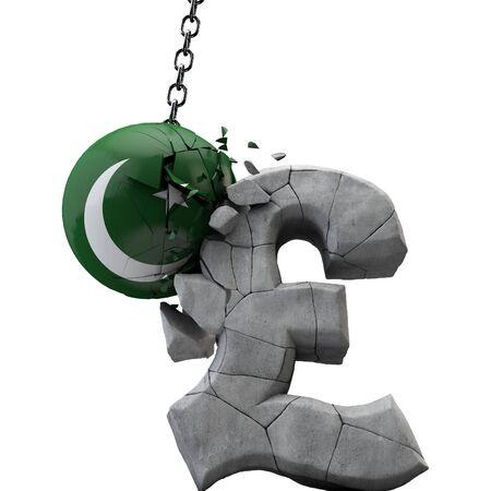 Pakistan ball smashing a pound sterling symbol. UK economy. 3D Render Imagens
