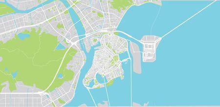 Urban vector city map of Macau, China Vektoros illusztráció