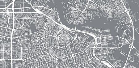 Urban vector city map of Amsterdam, The Netherlands 일러스트