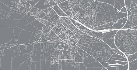 Urban vector city map of Gliwice, Poland