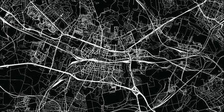 Miejski wektor mapa miasta Katowice, Polska