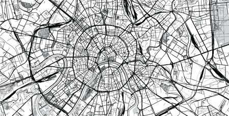 Urban vector city map of Moscow, Russia
