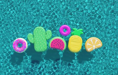Summer swimming pool full of fun pool floats. Overhead view. 3D Rendering