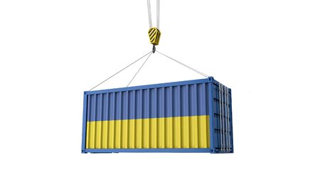 Ukraine flag cargo trade container hanging from a crane. 3D Render Stock Photo