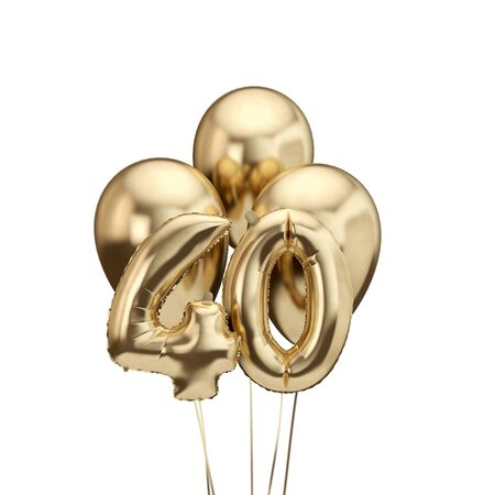 40th birthday gold foil bunch of balloons. Happy birthday. 3D Rendering
