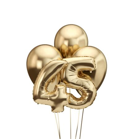45th birthday gold foil bunch of balloons. Happy birthday. 3D Rendering 스톡 콘텐츠