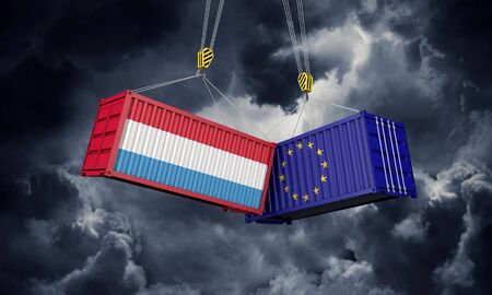 Luxembourg and europe trade war concept. Clashing cargo containers. 3D Render