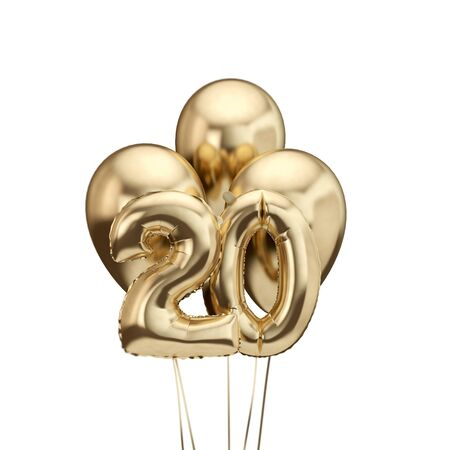 20th birthday gold foil bunch of balloons. Happy birthday. 3D Rendering