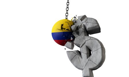Colombia flag ball smashing a USA dollar currency symbol. 3D Render