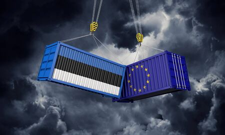 Estonia and europe trade war concept. Clashing cargo containers. 3D Render