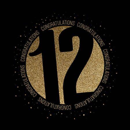 Congratulations number 12 birthday anniversary glitter circle design