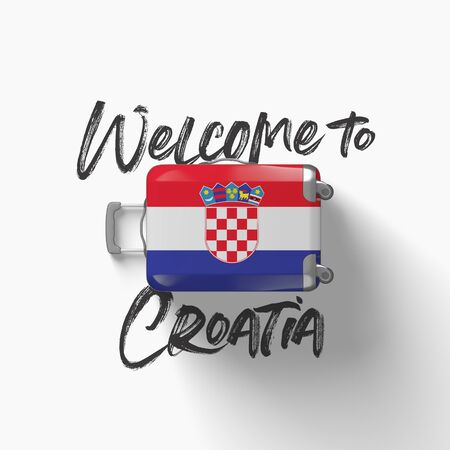 Welcome to Croatia. national flag on a travel suitcase. 3D Render