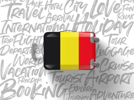 Belgium flag suitcase travel background. 3D Render