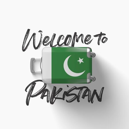 Welcome to Pakistan. national flag on a travel suitcase. 3D Render