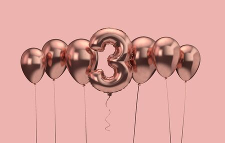 3rd birthday pink balloon background. Happy Birthday. 3D Rendering Reklamní fotografie - 131352274