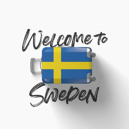 Welcome to Sweden. national flag on a travel suitcase. 3D Render