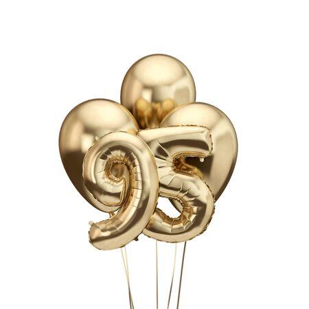 95th birthday gold foil bunch of balloons. Happy birthday. 3D Rendering Reklamní fotografie - 131353260