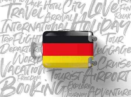 Germany flag suitcase travel background. 3D Render