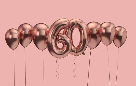 60th birthday pink balloon background. Happy Birthday. 3D Rendering