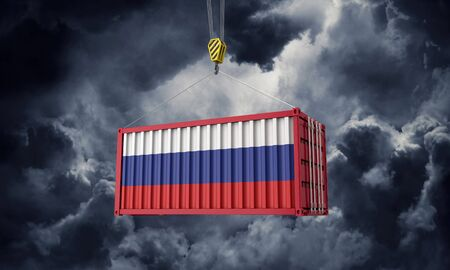 Russia trade cargo container hanging against dark clouds. 3D Render Stock Photo