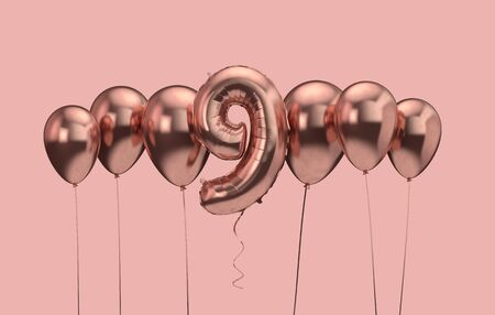 9th birthday pink balloon background. Happy Birthday. 3D Rendering Reklamní fotografie