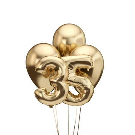 35th birthday gold foil bunch of balloons. Happy birthday. 3D Rendering