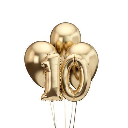 10th birthday gold foil bunch of balloons. Happy birthday. 3D Rendering