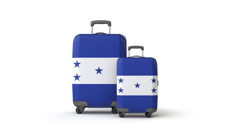 Honduras flag holiday destination travel suitcases isolated on white. 3D Render