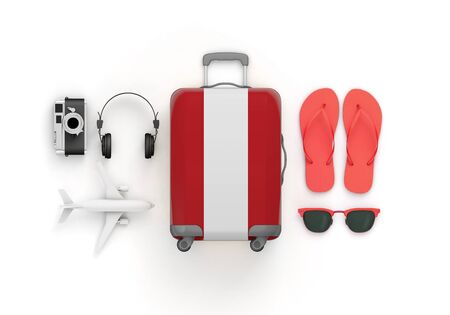Peru flag suitcase and travel accessories lay flat. 3D Render Stockfoto