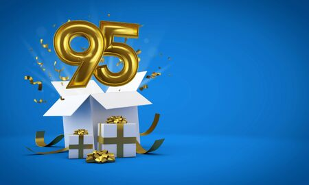 Number 95 exploding from a birthday present gift box. 3D Render Archivio Fotografico - 131353181