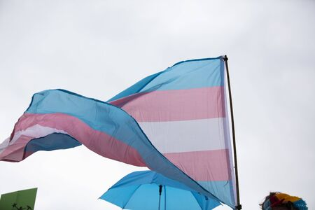 A transgender flag being waved at LGBT gay pride march Stok Fotoğraf