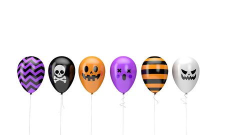 Halloween balloons. Happy halloween decotation. 3D Render Stok Fotoğraf