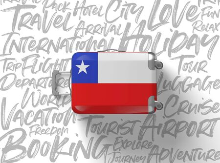Chile flag suitcase travel background. 3D Render