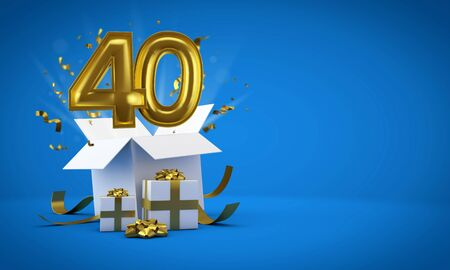 Number 40 exploding from a birthday present gift box. 3D Render Stok Fotoğraf