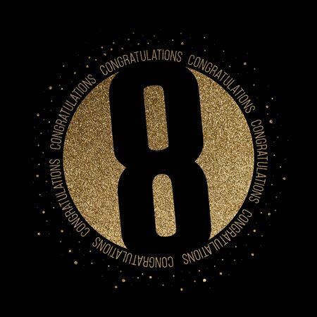 Congratulations number 8 birthday anniversary glitter circle design