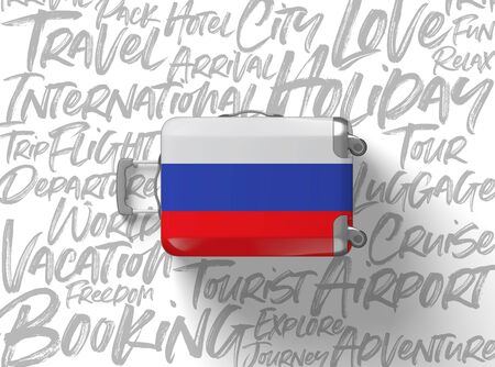 Russia flag suitcase travel background. 3D Render