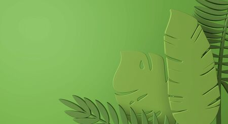 Creative tropical jungle leaf minimal background. 3D Render