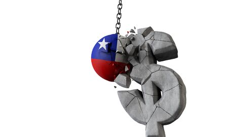 Chile flag ball smashing a USA dollar currency symbol. 3D Render
