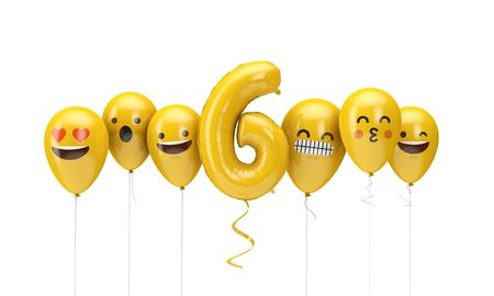 Number 6 yellow birthday emoji faces balloons. 3D Render Archivio Fotografico - 131353111