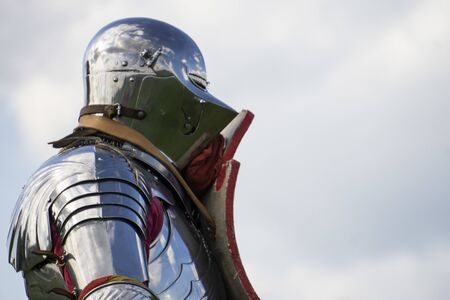 A brave medieval knight wering a helmet