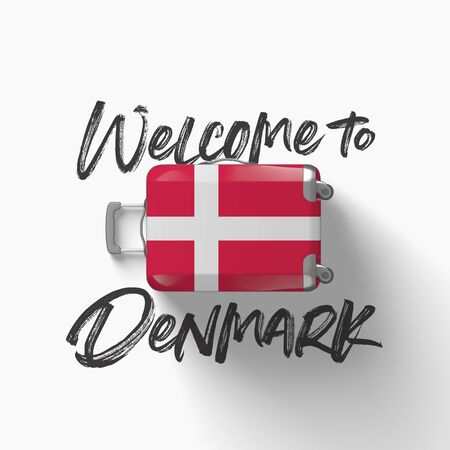 Welcome to Denmark. national flag on a travel suitcase. 3D Render